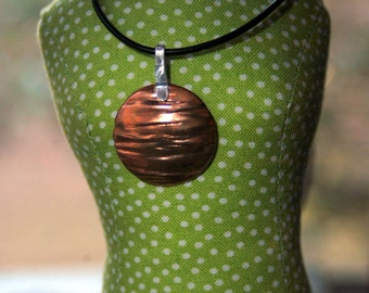 Handcrafted Round Copper and Sterling Silver Pendant  - IN STOCK