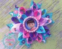 Boo Monster Inc character  inspired Loopy flower Boutique hair bow, , grosgrain bow,, hair bows, girl hair bows
