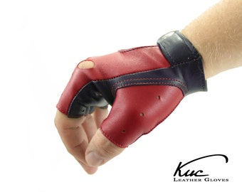 Fingerless gloves, car driving gloves, super soft nappa lamb leather, great gift for him or her - black and red or navy and red