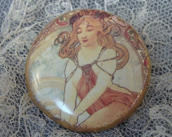 Large Art Nouveau Inspired - Large Sewing Ceramic Button - Bouton couture