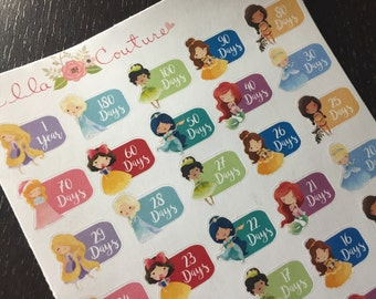 Princess Countdown Planner Stickers by EllaCouturebyJessica