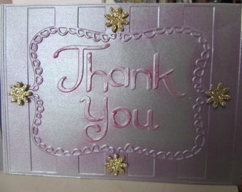 Thank You Card with silver embossed paper and gold glitter flowers