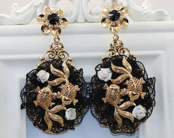 Baroque Designer Inspired Fish Lace Massive black gold earrings