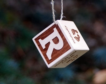 "Personalized wooden keepsake ornament! Baby's First Christmas, 1.5"" block."