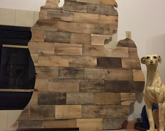 OVERSIZED Michigan and Wisconsin Shaped Wall Art. Reclaimed Pallet Wood, about 4' tall.
