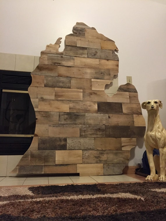 Oversized Michigan Shaped Wall Art Reclaimed Pallet Wood