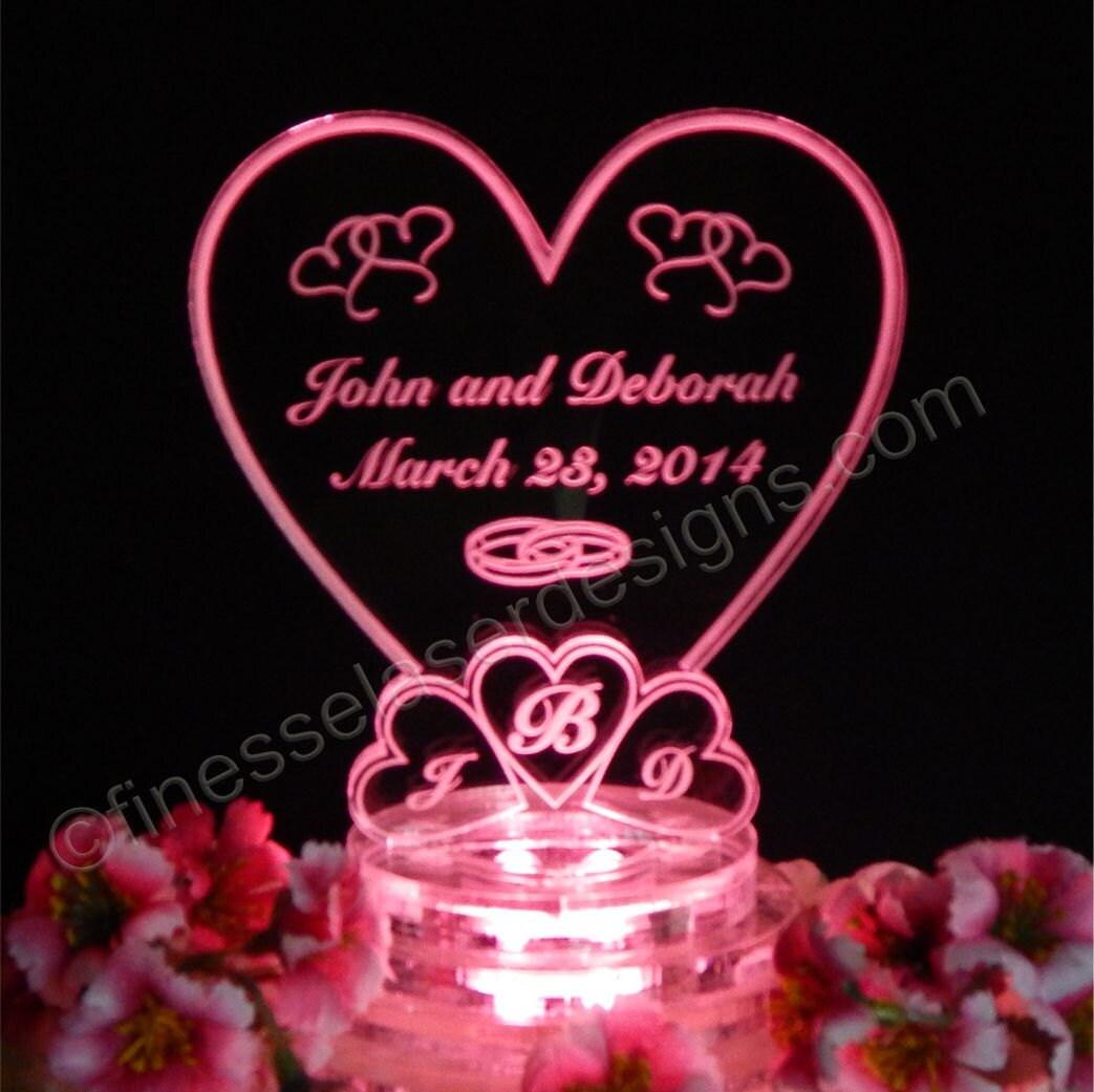 Lighted Cake Topper Monogram Heart Wedding Cake