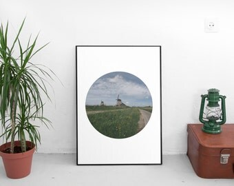 Windmill Photography - Printable art - Holland - Netherlands - Amsterdam- Nature - Home Decor -