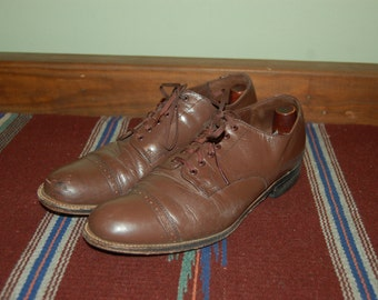 Men Size 8 1/2 Vintage Stacy Adams Brown Oxford Dress Shoes