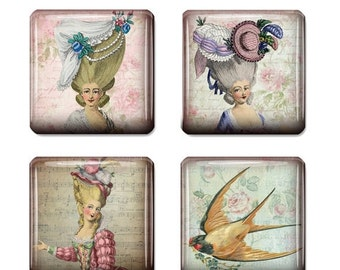 80 % off SaLe Shabby Chic Marie Antoinette 1 inch Digital Collage Sheet 1 inch Square Tile Images for Jewelry Making Scrabble Tiles Instant