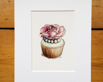 Rose Cupcake Illustration