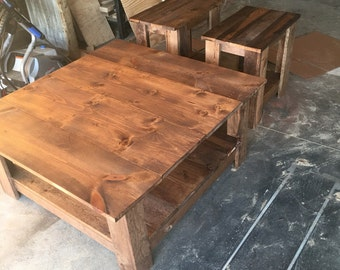 Coffee table and end table set stained in special walnut primitive living room furniture