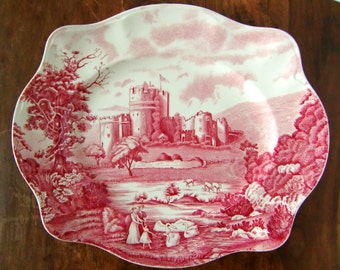 Large Red and White Porcelain Serving Plate, JOHNSON BROTHERS 'Castle Story' / Mid Century English Ironstone Transferware