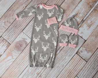 Hello World Woodland Deer Baby Gown, Mitts, and Hat Baby Shower Gift/ Hunting Baby Gown/ Deer/Buck Baby Gown