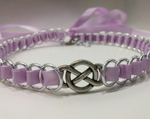 Ribbon Maille Discreet BDSM Discreet Day Collar Choker with Infinity Symbol, Many Colors Available