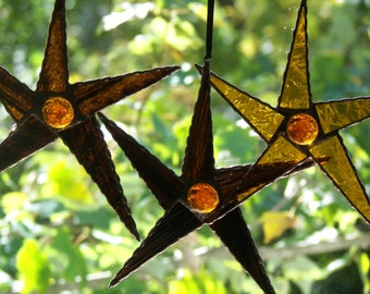 Set of 3 Stained Glass Brown, Amber Stars, Stained Glass 5 point Stars Brown, Amber , Brown Star Suncatcher, Orange Star Ornamnet