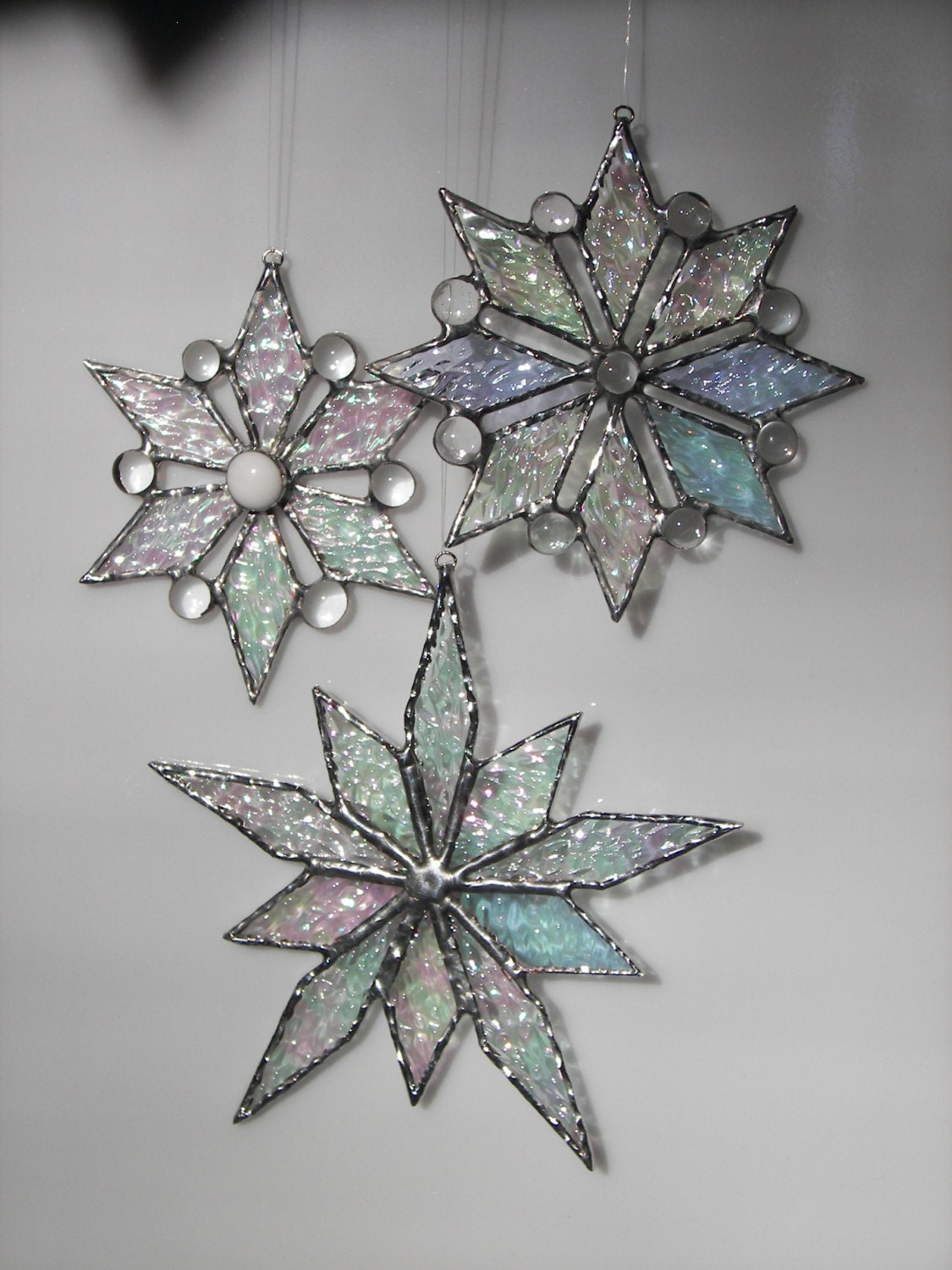 Stained glass snowflake ornament christmas