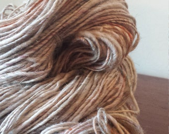 Handspun, Handdyed, corespun shetland wool, alpaca and silk yarn - SANDAY RUST