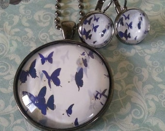 Indigo butterfly necklace and earring set.