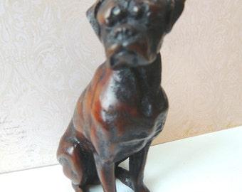 Boxer, Boxer Figurine, Dark Colored Boxer, Home Decor, Handsome Boxer, Dog Figurine, Vintage Boxer Figurine, Boxer Collectible, Boxer Dog