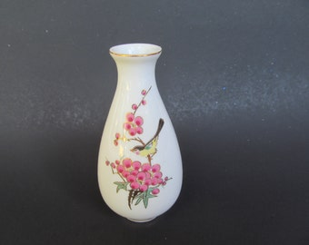 Miniature Ceramic Vase -- Gold Rimm - Bird Sitting on Branch