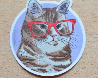 Cute hipster orange tabby cat with glasses illustrated vinyl laptop sticker