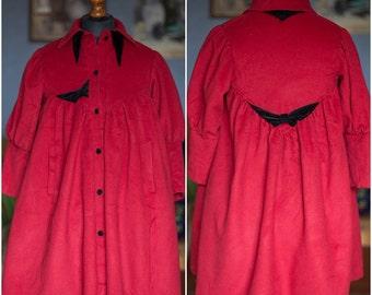 Vintage cashmere coat / Red cashmere coat / 70s coat / S-M
