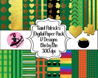 Saint Patricks Day Digital Paper Pack- 16 Sheets- Instant Download