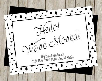 We've Moved, New Home, Change Of Address Card, New Address, Moving Card, Family Moving Card, Black & White, Modern (4x6)