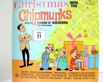 Vintage Christmas with the Chipmunks LP Album / 1962 Vinyl Record / Funny Holiday Music / Alvin Simon Theodore / Chipmunks First Xmas Album