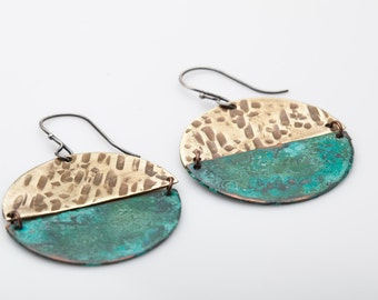 Cerrillos Earrings - Verdigris patina on copper with brass