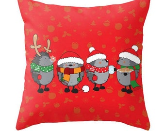 Hedgehog Porcupine Christmas Party - Pillow Cover