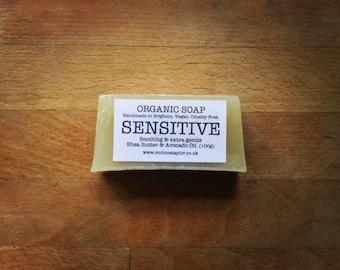 SENSITIVE Organic Soap, with Shea Butter & Avocado Oil. Vegan friendly. 100g bar.
