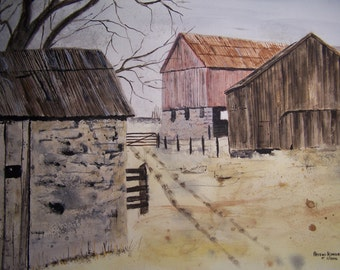 "farms and barns,watercolor painting,watercolor art, painting of farm,farm painting,old barn painting, farms and pastures,21.75""w x 16""h"