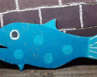 Large Nautical Beach Sea Ocean Wall Art Wooden Fish - Blue  Turquoise - 27 inches