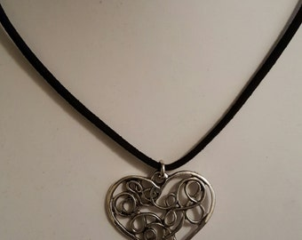 Antique Silver Tone Heart Necklace
