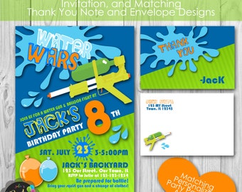 Splash Water Wars Squirt Gun Birthday Party, Personalized Printable Invitation, and Thank You Note, Envelopes, Banner and Welcome Sign