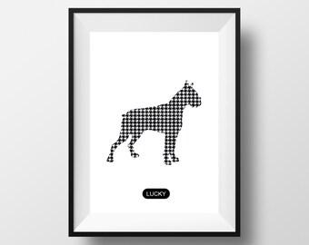 Boxer Dog print, Boxer art, Boxer poster, Boxer artwork, pug print, dogs custom art, Boxer Dog poster, houndstooth art, Boxer Dog custom art