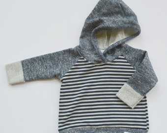 Navy Blue & Gray Striped Hoodie