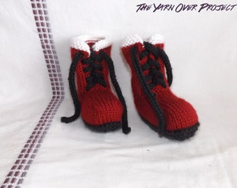 Hand-Knit Baby Santa Booties - Knit Booties - Baby Booties - Santa Booties
