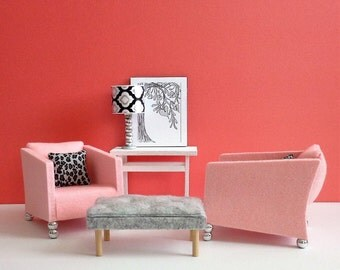 1:6 scale Pink or White Chair Set of 2