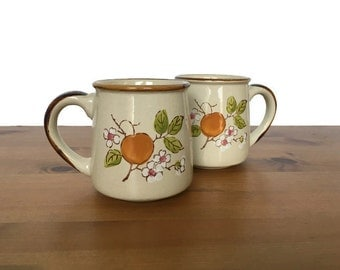Vintage stoneware mugs CasualStone peach and floral design his and her coffee cups