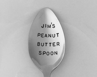 Peanut Butter Spoon-With YOUR name! Hand Stamped Spoon-Valentines-Boyfriend gift-Best selling Item-Gift Under 20-Customized Spoon