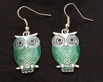 Silver Metal Owl Earrings With Blue / Green Laquor Body and Black Eyes