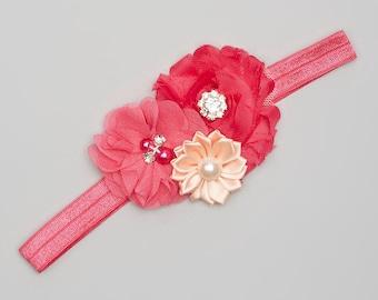 Pink Shabby Chic & Chiffon Headband, Baby headband, Toddler headband, Girls headband, Spring Headband, Valentines headband, Cute headband