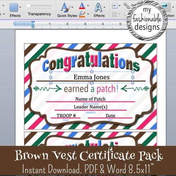 Brown Vest Certificates Pack Instant Download Print Your