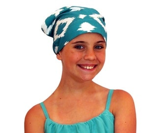 Mia Children's Head Cover, Girl's Cancer Headwear, Chemo Scarf, Alopecia Hat, Head Wrap, Cancer Gift for Hair Loss - Teal Diamonds