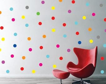 "Polka dot wall decal - Confetti rainbow Polka dot Pattern - Mixed colors Polka Dots Pattern, 1,5"" Dot decals, Bedroom Nursery Playroom Decor"