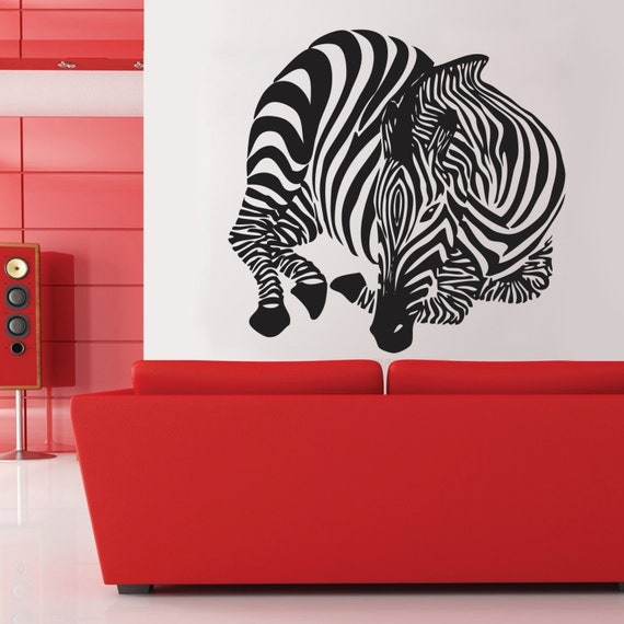Zebra wall decal home d cor wall decal large zebra vinyl wall for Zebra decorations for home