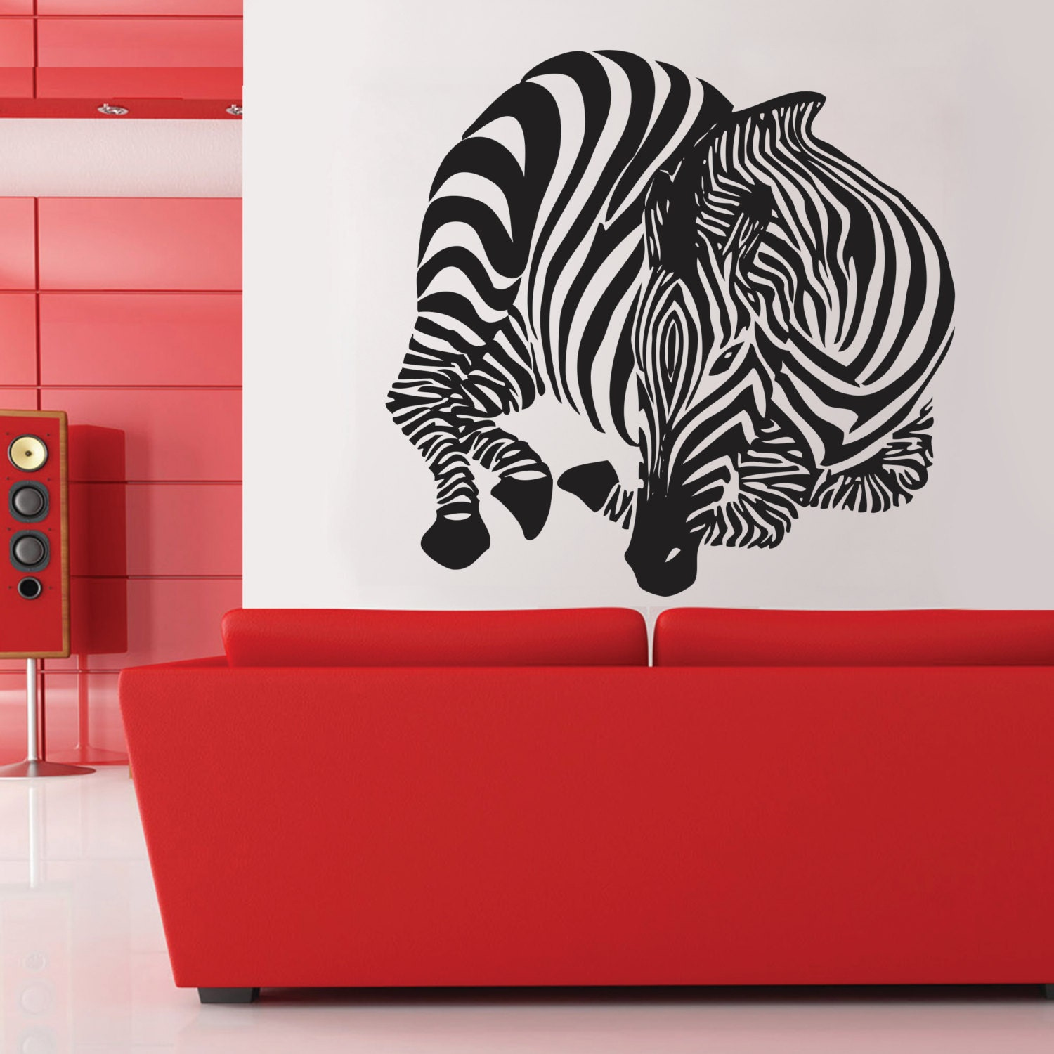 Zebra wall decal home d cor wall decal large zebra vinyl wall for Zebra home decorations